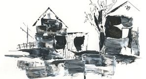 Village scenery drawing with acrylic and pen, abstraction. Winter, beginning of spring, the snow melts, the abstract pattern of the village houses, fence Stock Photos
