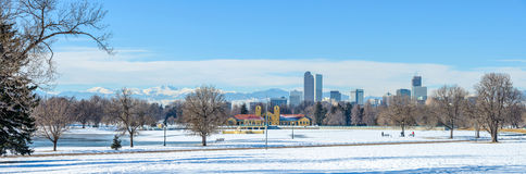 Winter bei Denver City Park Lizenzfreie Stockfotos
