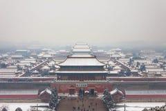 Winter in Beijing,Forbidden City. Winter in Beijing, under the snow back panoramic view overlooking the Forbidden City stock photography