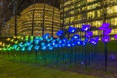 Winter beleuchtet Festival bei Canary Wharf Stockbild