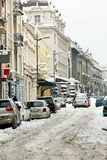 Winter Belgrade street Stock Photo