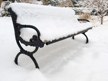 Winter bench. Stock Photo