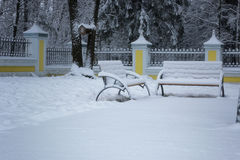 Winter bench covered snow Stock Image