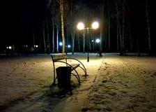 Winter bench. Royalty Free Stock Photo