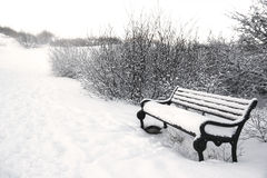 Winter bench in the park covered by white snow, Iceland Stock Images