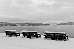 Winter Benches Black and White Stock Photos