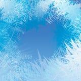 Winter bereifter Fensterhintergrund Frost und Wind am Glas stock abbildung