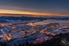 Winter in Bergen, Norwegen Lizenzfreie Stockfotos