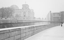 Winter in Berlin City with walking People and The Reichstag building Stock Photos