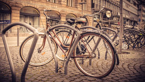 Winter in Berlin, Germany, bikes on display Stock Photo