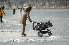 Winter in Berlin. JANUARY 2006 - BERLIN: people on the frozen Wannsee in Berlin royalty free stock images