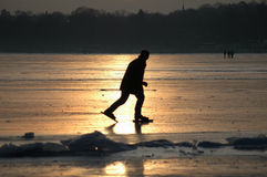 Winter in Berlin. JANUARY 2006 - BERLIN: people on the frozen Wannsee in Berlin stock photo