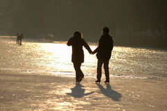 Winter in Berlin. JANUARY 2006 - BERLIN: people on the frozen Wannsee in Berlin stock photography