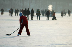 Winter in Berlin. JANUARY 2006 - BERLIN: people on the frozen Wannsee in Berlin stock images