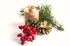 Winter berries, pine cones, candle, spruce on white Royalty Free Stock Images