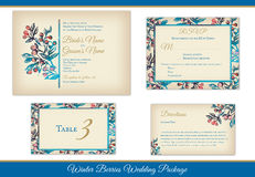 Winter Berries Wedding Invitations Set royalty free stock photo