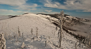 Winter Beskid Slaski panorama from rock on Malinowska Skala hill Royalty Free Stock Images