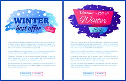 Winter Best Offer Sale Promo Web Posters with Text. Winter best offer sale promo web posters with place for text and advertisement label discount -25 , snowballs Royalty Free Stock Photography