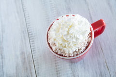 Winter Beverage Hot Chocolate With Whipped Cream Stock Photos