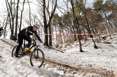 Winter bicycle race Royalty Free Stock Image
