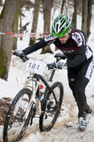 Winter bicycle race Stock Photo
