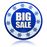 Winter big sale blue circle banner with snowflakes symbol Royalty Free Stock Images