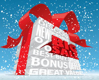 Winter Big Sale 3d Text. Vector illustration of a 3D text box announcing a grand sale Stock Photography