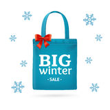 Winter Big Sale Fabric Cloth Bag Tote. Vector Stock Photos