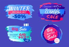 Winter Big Sale 2017 Half Price Discount Today Set. Winter big sale 2017 half price discount -45 only today offer -20 best choice round hanging tags set of Stock Photography