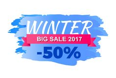 Winter 2017 Big Sale Icon Vector Illustration. Winter 2017 big sale icon isolated on white background. Vector illustration with seasonal discount advert on sign Royalty Free Stock Images