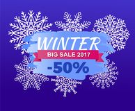 Winter Big Sale 2017 -50 Off Vector Illustration. Web banner with info about half price discounts, poster design with luxury concept deal on blue Royalty Free Stock Images