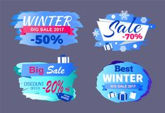 Winter Big Sale 2017 Price Discount -70 Only Today. Offer -20 best tags set of seasonal labels vector illustrations on blue, snowflakes and presents Stock Images