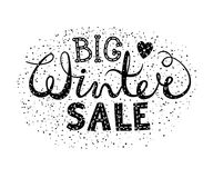 Winter big sale text lettering with heart. Seasonal shopping concept to design banners, price or label. Isolated vector illustration Royalty Free Stock Image