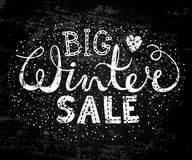Winter big sale text lettering with heart. Seasonal shopping concept to design banners, price or label. Stylized drawing chalk on blackboard.  vector Royalty Free Stock Photo
