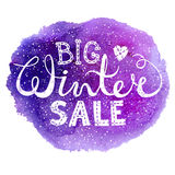 Winter big sale text lettering with heart on watercolor background. Seasonal shopping concept to design banners, price. Or label. Isolated vector illustration Stock Photography