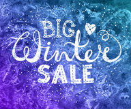Winter big sale text lettering with heart on watercolor background. Seasonal shopping concept to design banners, price. Or label.  vector illustration Stock Photography