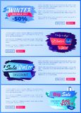 Winter Big Sale 2017 Web on Vector Illustration. Winter big sale 2017, only today, webpages collection with images, headlines and text sample, buttons below on stock illustration