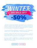 Winter Big Sale 2017 Vector Landing Page Poster Royalty Free Stock Photography