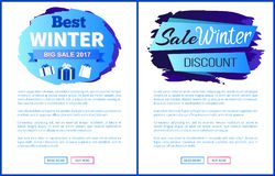 Winter Big Sale 2017 Vector Landing Page Posters Stock Image