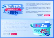 Winter Big Sale 2017 Vector Landing Page Posters. Winter big sale 2017 -50 vector illustration landing pages design, place for text informing about reduction of Stock Photos