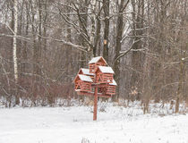 Winter birch forest. Snowing winter background. Red nesting box Stock Image