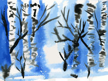 Winter birches watercolor Stock Images