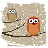 Winter bird. And snowflakes background vector Stock Photography