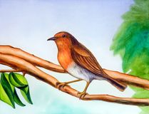 Winter bird. A small bird resting on a tree branch. Hand painted illustration Royalty Free Stock Photo