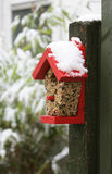 Winter bird feeder. A wooden bird feeder, nailed to a green wooden post, filled with nuts and seeds,covered with fresh crisp white snow stock photography