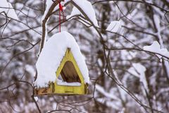 Winter bird feeder in the forest with snow Stock Photo