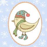 Winter bird in openwork frame snowflake. Bird in. Clothing. Gift card Royalty Free Stock Image