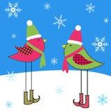 Winter Birds. Cute birds in the snow Royalty Free Stock Photos