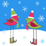 Winter Birds. Cute birds in the snow Vector Illustration