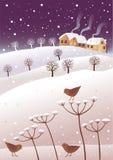 Winter and birds stock illustration